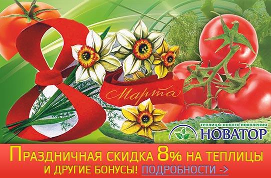 Закажи теплицу «Новатор» с 22 февраля по 15 марта с праздничной скидкой 8%!