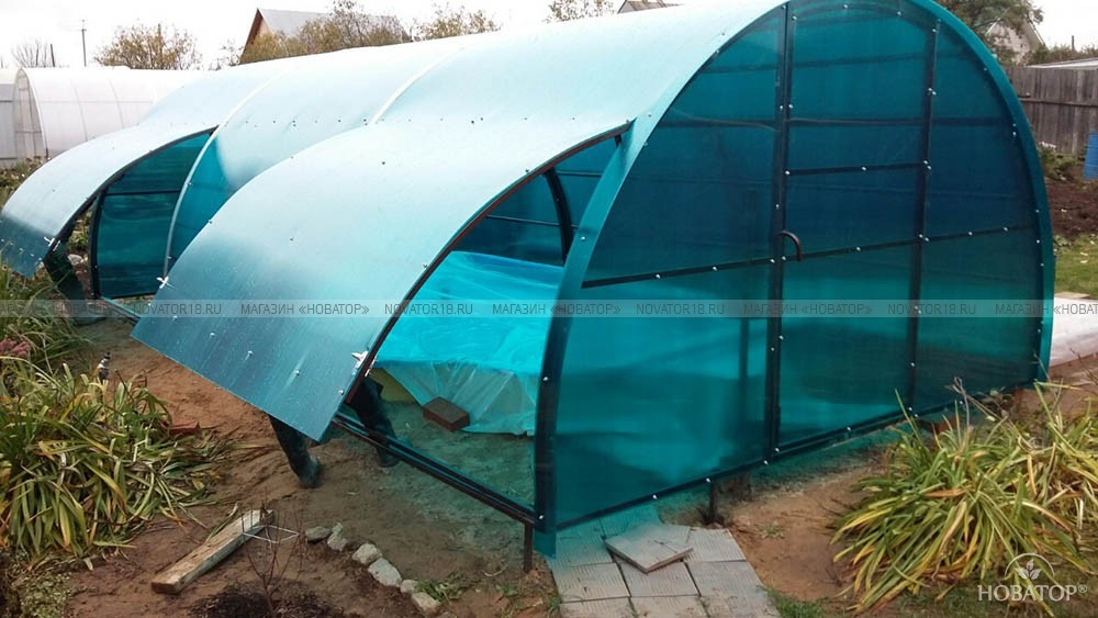 Навес арочный для бассейна 4x6 с подъемными окнами