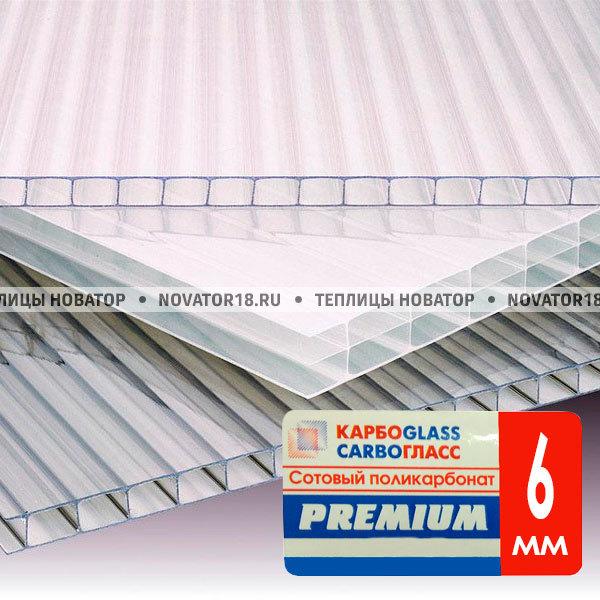 Поликарбонат прозрачный 6 мм (1.1 кг/м2) 2,1*1м
