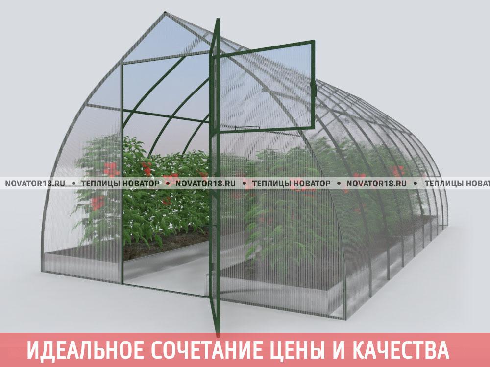 Теплица «Новатор капелькой» с поликарбонатом 4 мм
